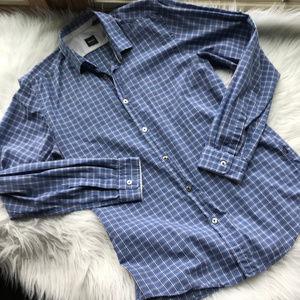 BOSS Hugo Boss Regular Fit Blue Plaid Dress Shirt